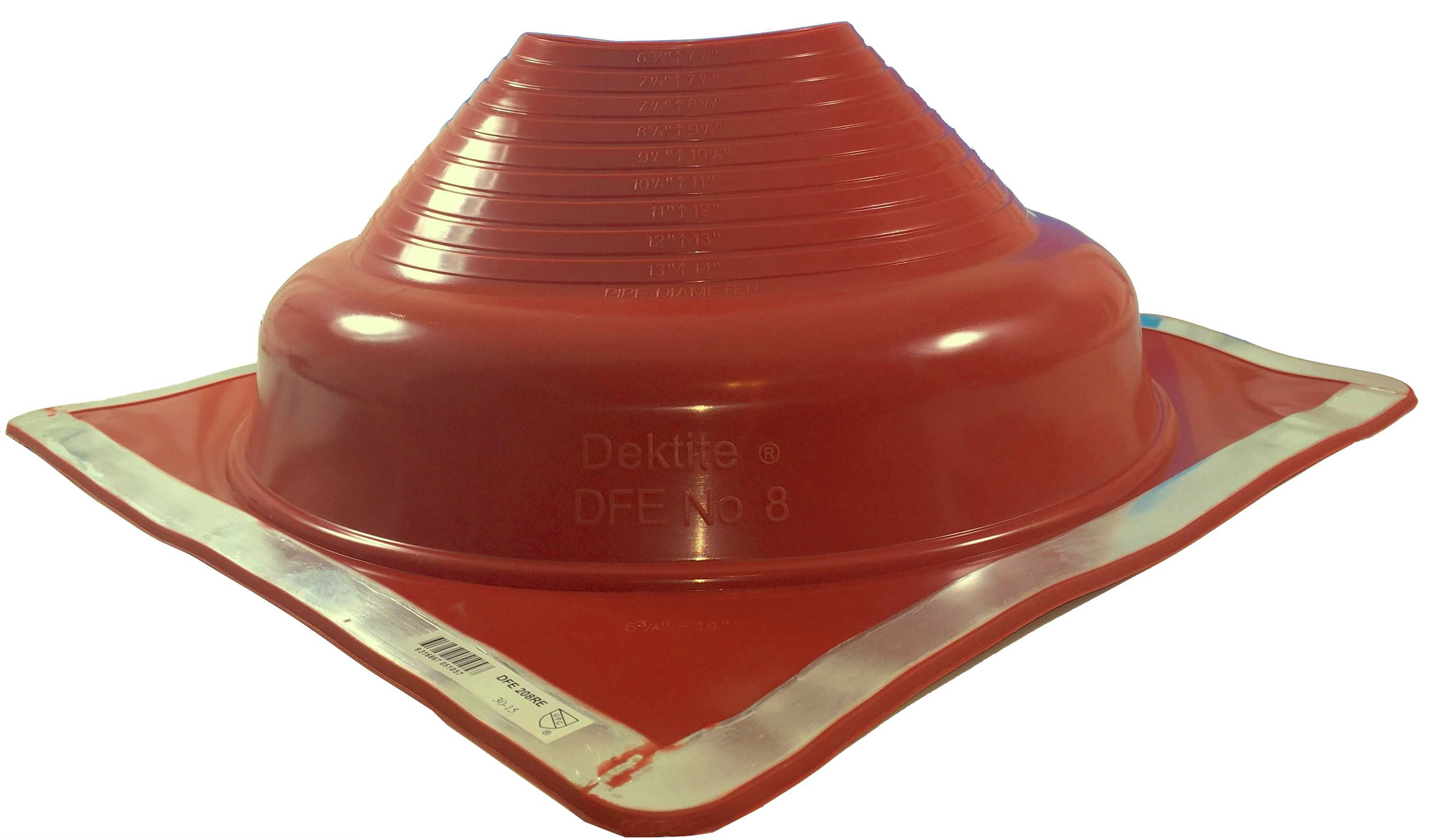 DEKTITE ROUND BASE PIPE FLASHING BOOT: #8 RED High Temp Silicone Square Base Flexible Pipe Flashing Dektite (for OD pipe sizes 6-3/4' - 14')~pipe flashing fastens w/roofing screws~Deks Dektite