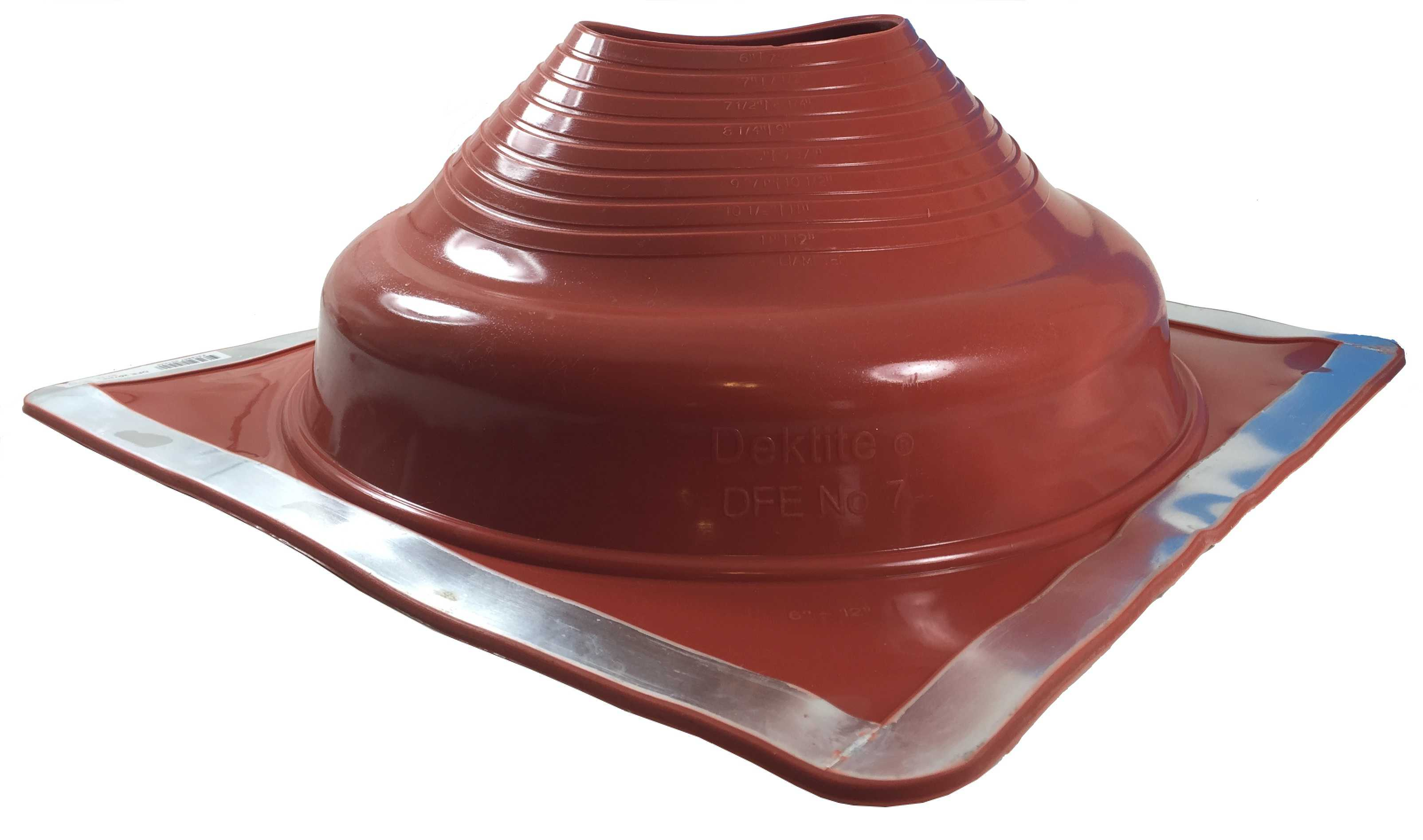 DEKTITE ROUND BASE PIPE FLASHING BOOT: #7 RED High Temp Silicone Square Base Flexible Pipe Flashing Dektite (for OD pipe sizes 6' - 12')~pipe flashing fastens w/roofing screws~Deks Dektite
