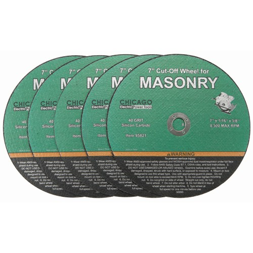 7 in. 40 Grit Masonry Cut-Off Wheel 5 Pc