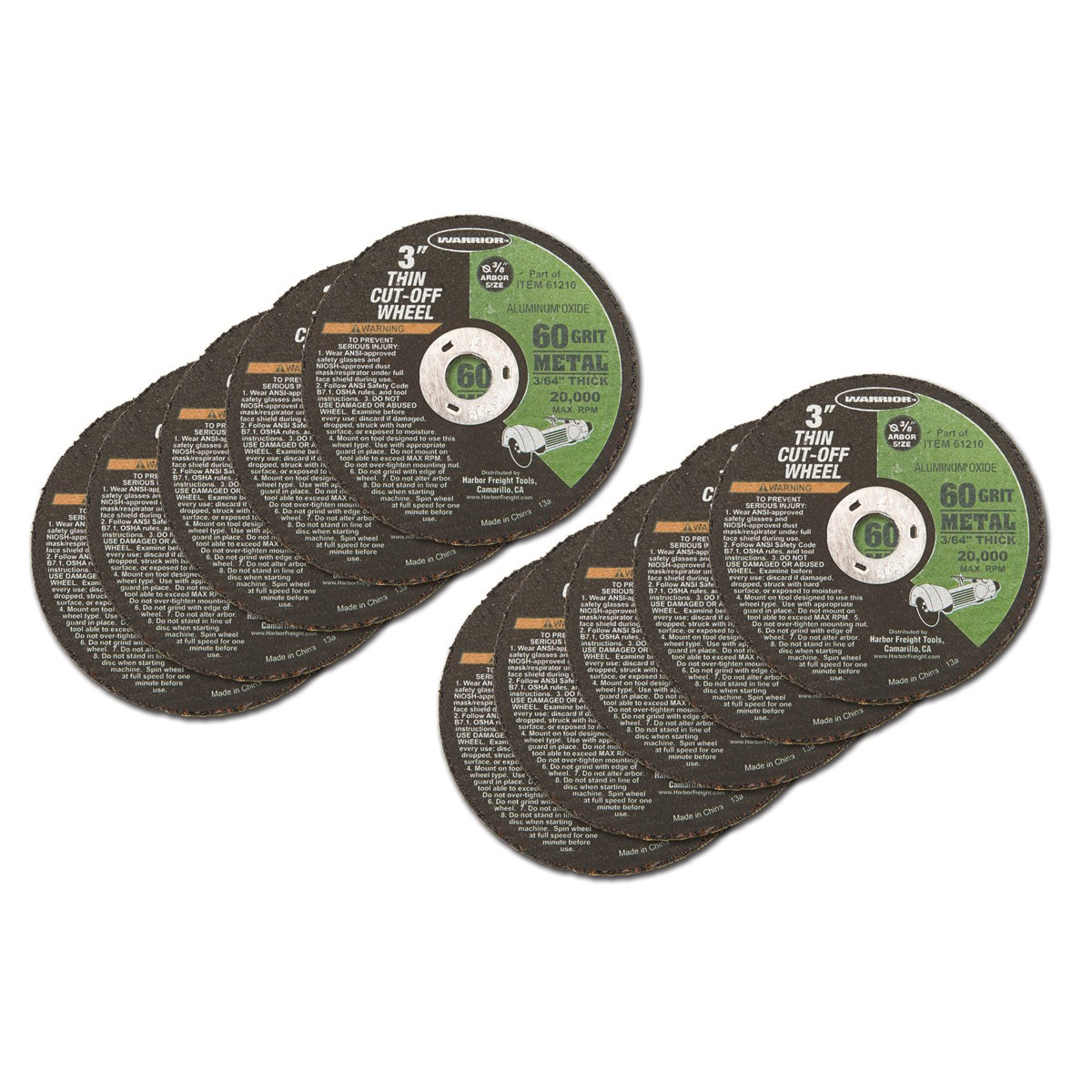 3 in. 60 Grit Thin Metal Cut-off Wheel 5 Pc